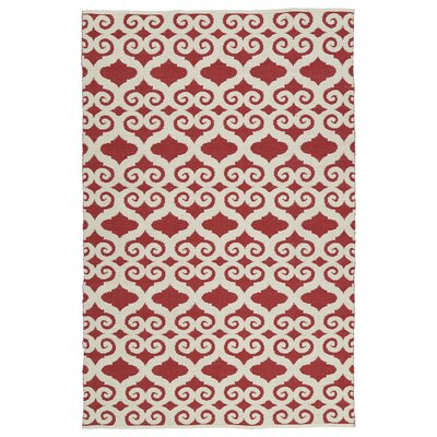 Covington White/Red Indoor/Outdoor Area Rug Rug Size: Rectangle 9 x 12