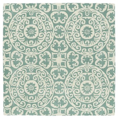 Corine Hand-Tufted Mint / Ivory Area Rug Rug Size: Square 39
