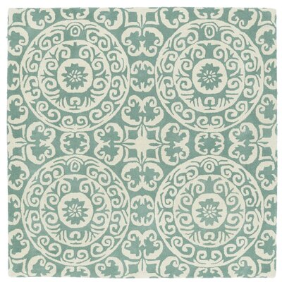 Corine Hand-Tufted Mint / Ivory Area Rug Rug Size: Square 5'9