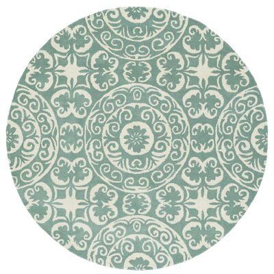 Corine Hand-Tufted Mint / Ivory Area Rug Rug Size: Round 99