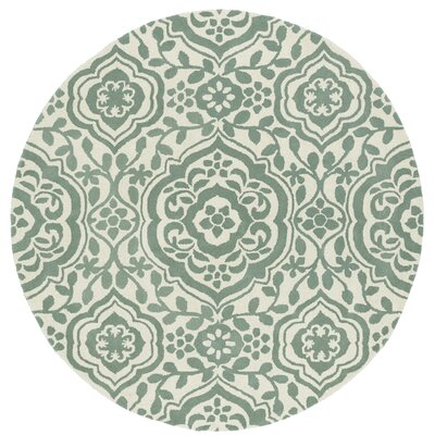 Corine Hand-Tufted  Mint / Ivory Area Rug Rug Size: Round 11'9