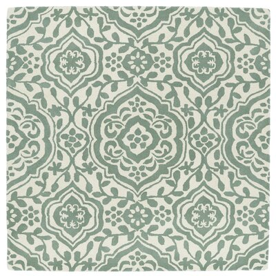 Corine Hand-Tufted  Mint / Ivory Area Rug Rug Size: Square 119