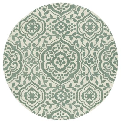 Corine Hand-Tufted  Mint / Ivory Area Rug Rug Size: Round 5'9
