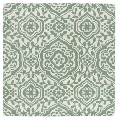 Corine Hand-Tufted  Mint / Ivory Area Rug Rug Size: Square 59