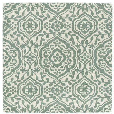 Corine Hand-Tufted  Mint / Ivory Area Rug Rug Size: Square 99
