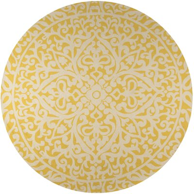 St James Gold Indoor/Outdoor Area Rug Rug Size: Round 9