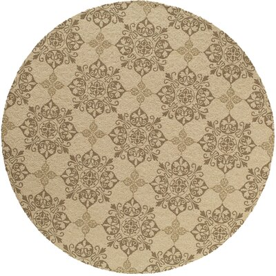 St James Hand-Hooked Beige Area Rug Rug Size: Round 9'