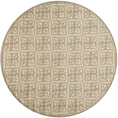 St James Hand-Hooked Taupe Indoor/Outdoor Area Rug Rug Size: Round 9