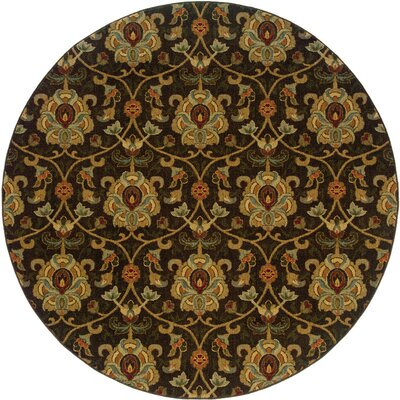 Crossreagh Black/Beige Area Rug Rug Size: Round 78