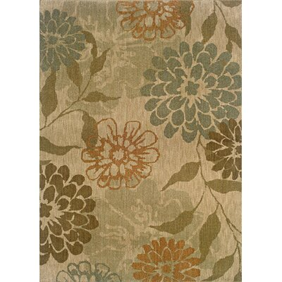 Crossreagh Beige/Green Area Rug Rug Size: 53 x 76