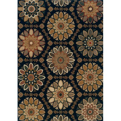 Crownfield Blue/Gold Area Rug Rug Size: 53 x 76