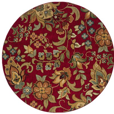 Crossreagh Red Area Rug Rug Size: Round 78