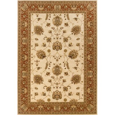 Currahee Ivory/Red Area Rug Rug Size: Round 710