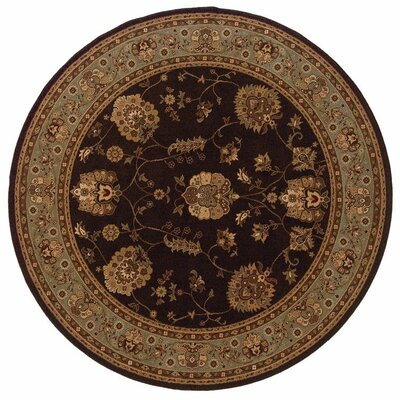 Currahee Brown/Black Area Rug Rug Size: Round 710