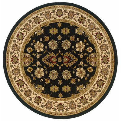 Currahee Black/Ivory Area Rug Rug Size: Round 710