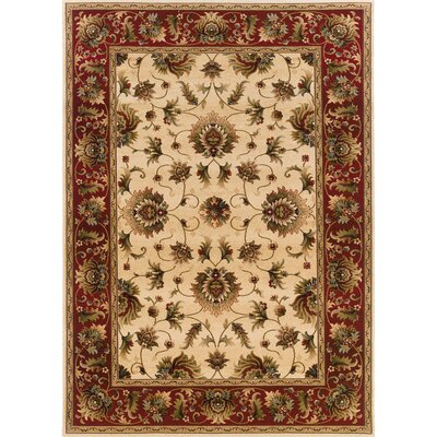 Currahee Beige/Red Area Rug Rug Size: Round 710