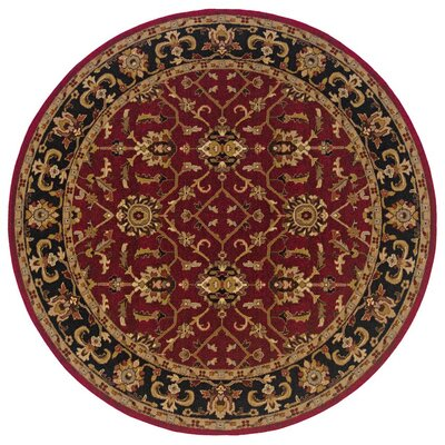 Currahee Red/Black Area Rug Rug Size: Round 710