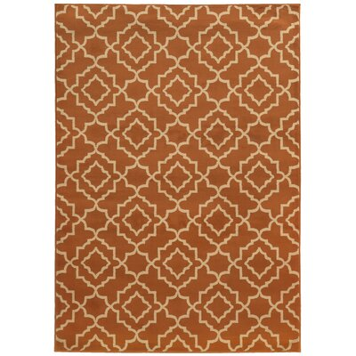 Delshire Orange/Beige Area Rug Rug Size: 53 x 73