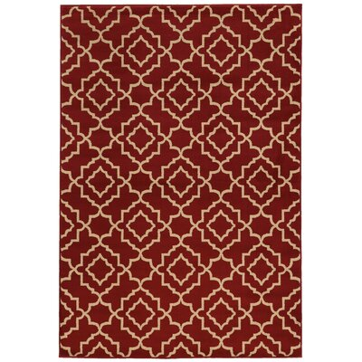 Delshire Red/Beige Area Rug Rug Size: Rectangle 67 x 96