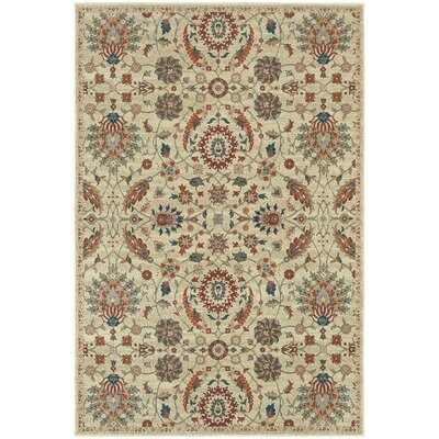 Derrymore Beige Floral Area Rug Rug Size: Rectangle 53 x 76