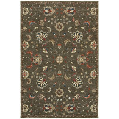 Derrymore Gray/Orange Area Rug Rug Size: 53 x 76
