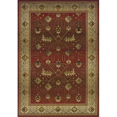 Devon Red/Beige Area Rug Rug Size: Rectangle 99 x 122