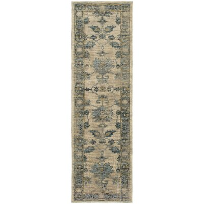 Dewey Beige/Blue Area Rug Rug Size: Rectangle 11 x 3