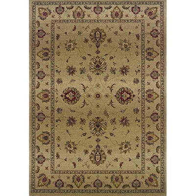 Devon Beige/Red Area Rug Rug Size: 53 x 76