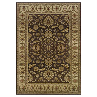 Devon Floral Brown/Blue Area Rug Rug Size: Round 8