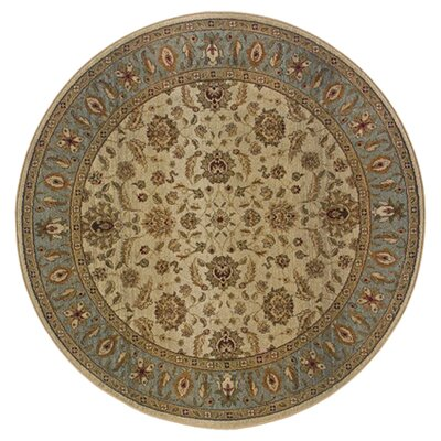 Devon Floral Brown/Blue Area Rug Rug Size: Round 6