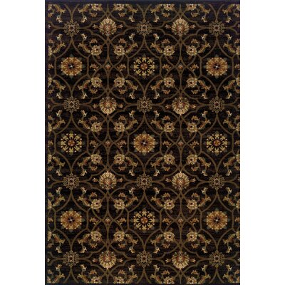 Dogwood Black/Brown Area Rug Rug Size: 53 x 76