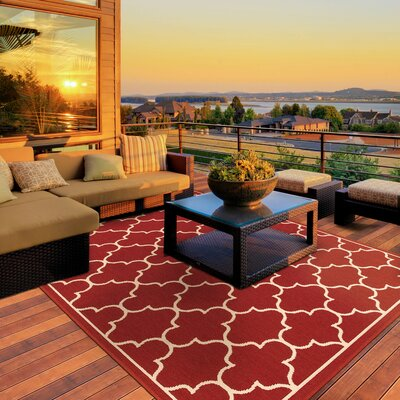 Duncan Red Indoor/Outdoor Area Rug Rug Size: Rectangle 37 x 56