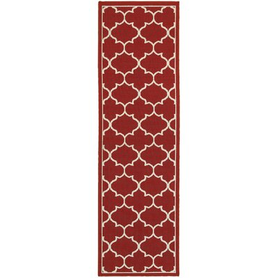 Duncan Red/Ivory Indoor/Outdoor Area Rug Rug Size: Runner 23 x 77