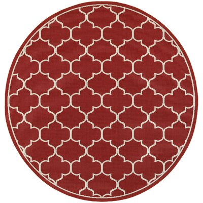 Duncan Red/Ivory Indoor/Outdoor Area Rug Rug Size: 37 x 57