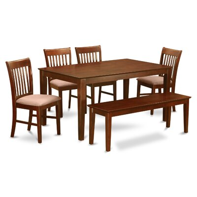 Smyrna 6 Piece Dining Set Finish: Microfiber Cushion