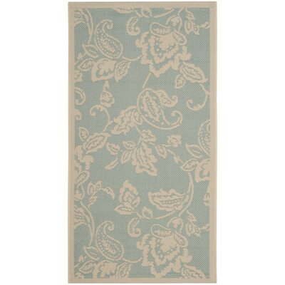 Berrima Aqua/Beige Area Rug Rug Size: Rectangle 27 x 5