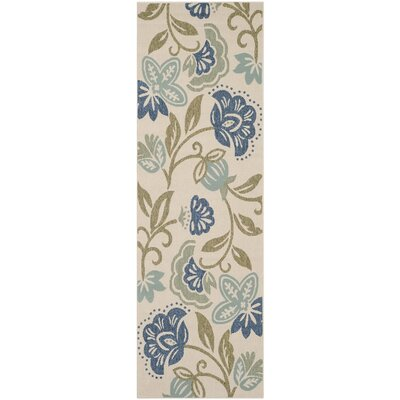 Petaluma Beige/Blue/Sage Area Rug Rug Size: Rectangle 27 x 82
