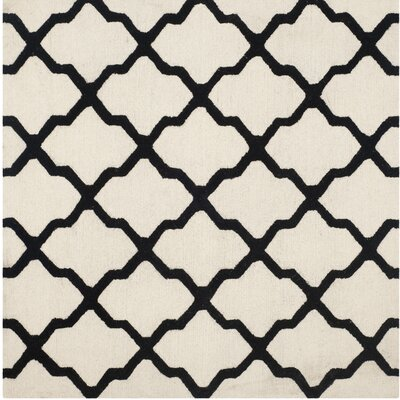 Gillam Hand-Tufted Wool Ivory/Black Area Rug Rug Size: Square 6