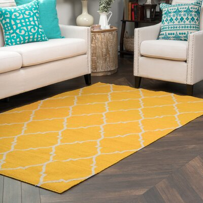 Fieldon Hand-Woven Gold Indoor/Outdoor Area Rug Rug Size: 5 x 8