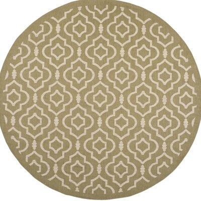Octavius Green/Beige Indoor/Outdoor Area Rug Rug Size: Round 710