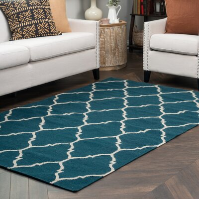 Fieldon Hand-Woven Blue Indoor/Outdoor Area Rug Rug Size: 5 x 8