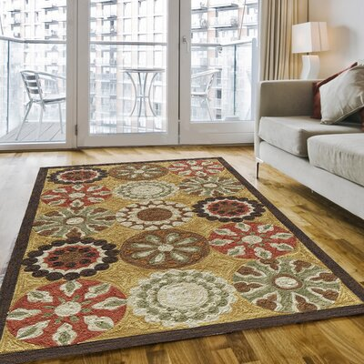 Ophelia Hand-Hooked Gold Area Rug Rug Size: Rectangle 5 x 76