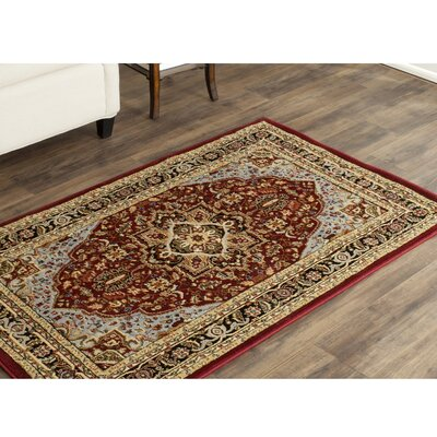 Ottis Mary Red & Black Area Rug Rug Size: Round 8