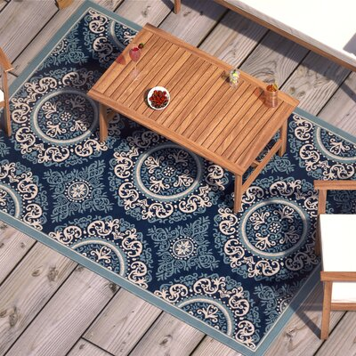 Roulston Blue Indoor/Outdoor Area Rug Rug Size: Rectangle 2 x 3