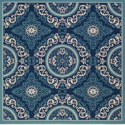 Roulston Blue Indoor/Outdoor Area Rug Rug Size: Square 710