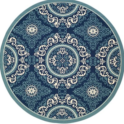 Roulston Blue Indoor/Outdoor Area Rug Rug Size: Round 710