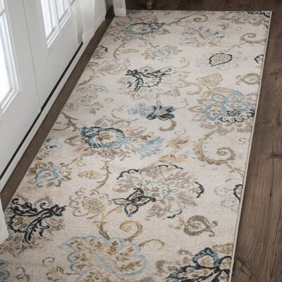 Russell Cream/Blue Area Rug Rug Size: Runner 2'7'' x 7'3''