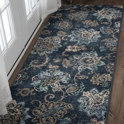 Russell Navy Blue/Brown Area Rug Rug Size: Runner 27 x 73