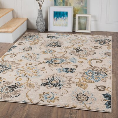 Russell Cream/Blue Area Rug Rug Size: 2' x 3'