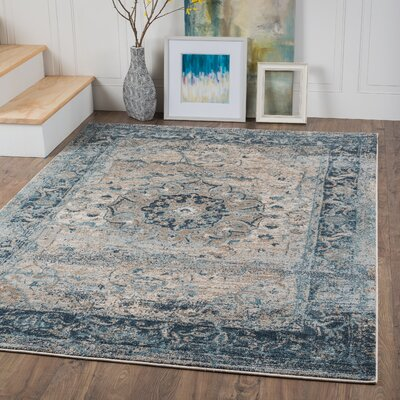 Russell Light Blue/Brown Area Rug Rug Size: 53 x 73